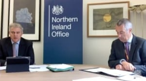 Brandon Lewis (left) and Colin Perry, economy director at the NIO, giving evidence to the committee