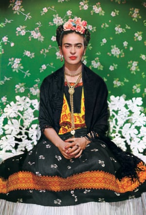 Frida Kahlo On White Bench, a photograph by Nickolas Muray taken in 1938
