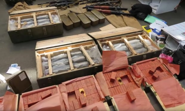 The alleged arms haul.