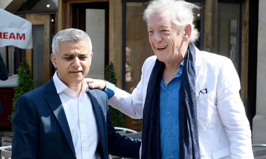 Ian McKellen greets Sadiq Khan before his signing ceremony at Southwark cathedral