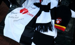 Charlton lay down black and white scarves and shirts which marked their opposition to Roland Duchâtelet after the announcement of the club's prospective sale.