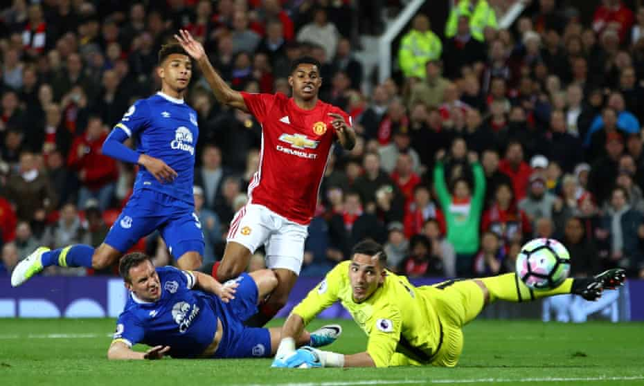 Joel Robles, right, saves a shot by Manchester United's Marcus Rashford during the draw at Old Trafford.