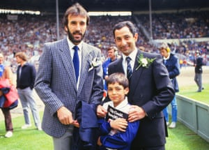 Spurs' Ricky Villa and Ossie Ardiles with his son take in the atmosphere ahead of the match.