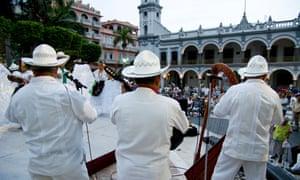 A band plays a Son Jarocho dance in a square in Veracruz, Mexico.