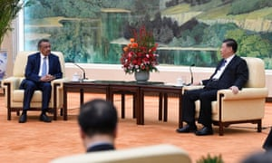 Tedros Adhanom Ghebreyesus, the director general of the WHO, attends a meeting with the Chinese president, Xi Jinping in Beijing on 28 January 2020.