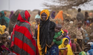 People wait for food and water in Werder district, in Ethiopia's Somali region