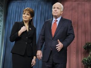 Tina Fey as Governor Sarah Palin, with the real Senator John McCain on Saturday Night Live in 2008.