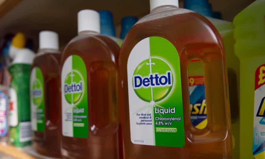 Bottles of Dettol on a shelf at a pharmacy