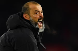 Wolverhampton Wanderers manager Nuno Espirito Santo celebrates after the match as Wolves came from 2-0 down to beat Southampton 3-2 away from home. The result leaves them sixth in the table on 34 points.