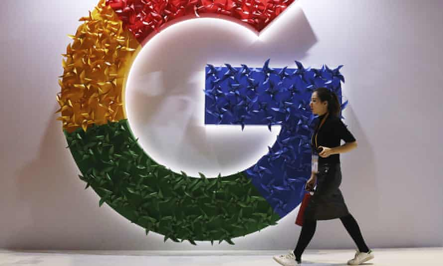 A Google logo at the China International Import Expo in Shanghai.