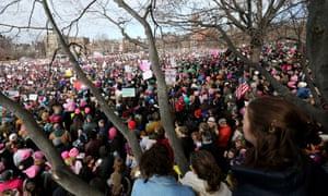 Demonstrators gather on Boston Common during the Boston Women's March for America.