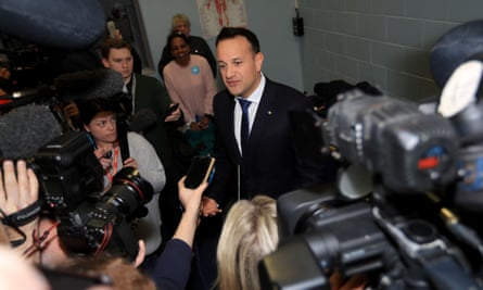 Fine Gael leader and taoiseach Leo Varadkar arrives at the vote count centre in Dublin.