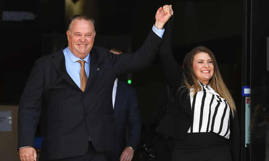 Former Queensland police officer Rick Flori and social justice advocate Renee Eaves after Flori was found not guilty of misconduct