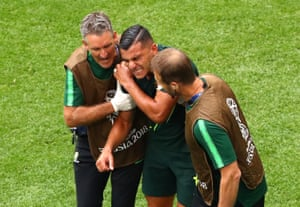Nabbout recieves medical treatment as he goes off.