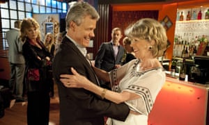 Claudia Colby (Rula Lenska) spots Audrey Roberts (Sue Nicholls) and Marc Selby (Andrew Hall) hugging in IT'Vs Coronation Street, 2011.