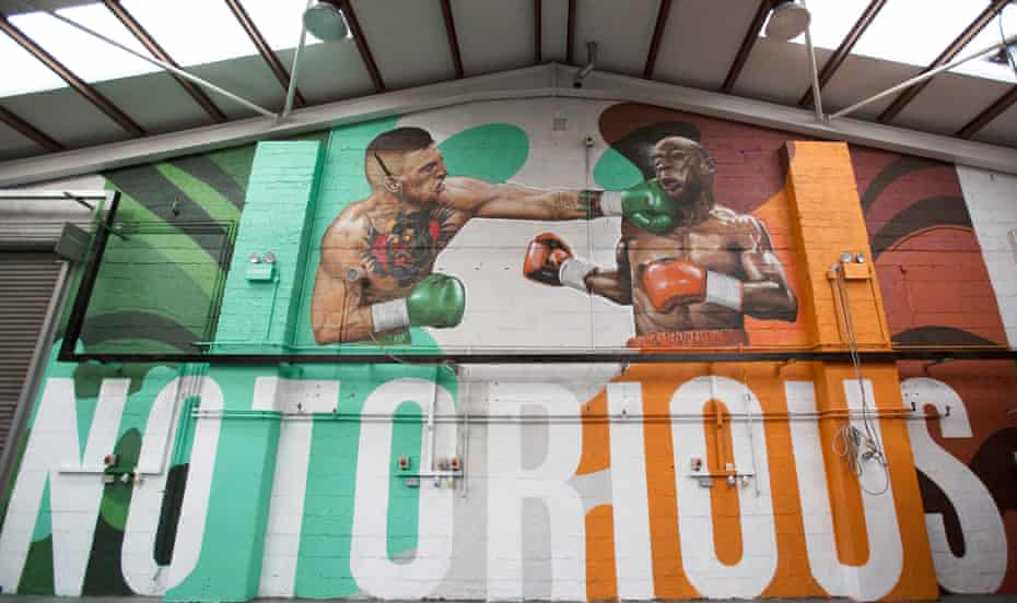 A Mural of fighter Conor McGregor ,in the gym where he trains in central Dublin.