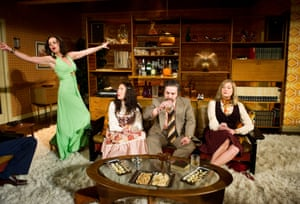 Jill Halfpenny (Beverley) and Nathalie Casey (Angela), Andy Nyman (Laurence) and Susannah Harker (Susan) in Abigail's Party at the Menier Chocolate Factory, 2012