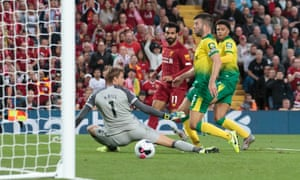 Mohamed Salah slots the ball past Norwich City's goalkeeper Tim Krul to double Liverpool's lead.