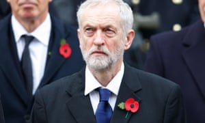 Jeremy Corbyn sporting a red poppy at last year's Remembrance Sunday ceremony.