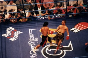 WBC International super bantamweight champion Prince Naseem Hamed taunts Juan Polo Perez during his successful defence of his title in July 1995. Prince Naseem won with a second round knockout.