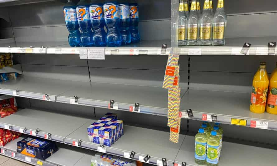 Empty shelves in a Co-op store.