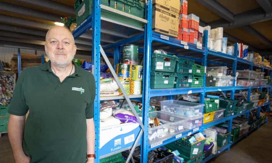 Andy Thornton at the Harlow food bank has seen a dip in individual food donations.