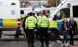 Police at an Aston Villa v Birmingham City game