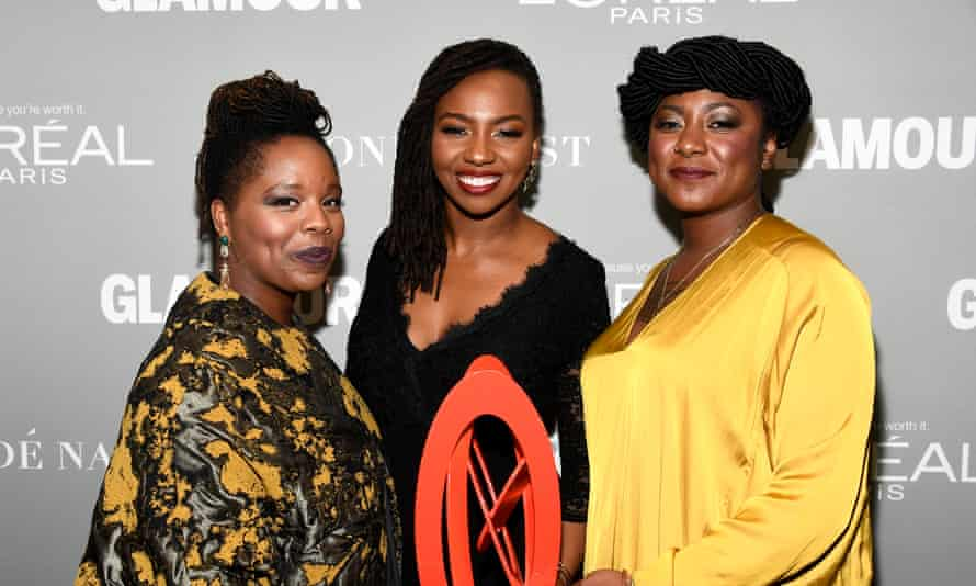 Tometi (centre) with fellow BLM co-founders Patrisse Cullors and Alicia Garza, at Glamour's women of the year awards, 2016.