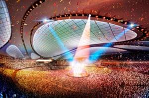 Artist's impression of the interior of Hadid's Tokyo Olympic Stadium.