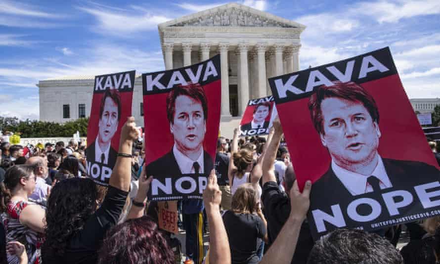 Protesters against US supreme court nominee Judge Brett Kavanaugh last year.