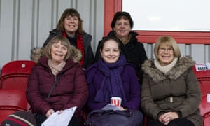 A group of female fans enjoy the Altrincham FC versus Gloucester City match in January.
