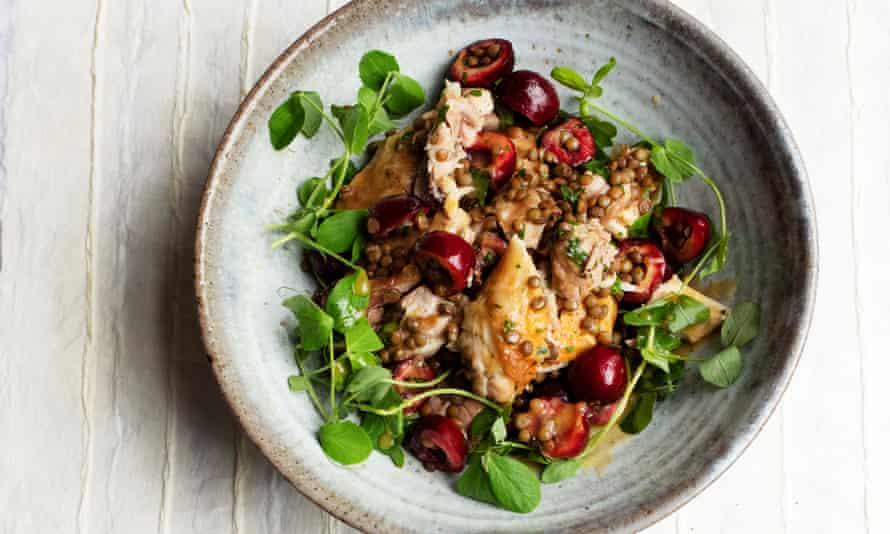 Nigel Slater's roast chicken salad with lentils and cherries.