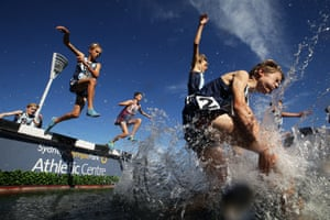 Sydney, Australia. Competitors race in the U16 boys steeplechase during the Australian Track and Field Championships