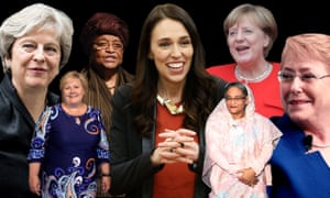 Female leaders: Theresa May; Beata Szydlo; Hilda Heine; Jacinda Ardern; Sheikh Hasina; Angela Merkel; Michelle Bachelet.