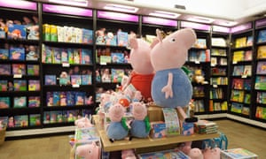 A Peppa Pig book display at Waterstones, London.