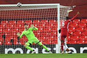 Liverpool's Georginio Wijnaldum misses a chance to score.