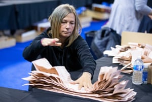 Votes being counted at the Emirates Arena, Glasgow, this morning.