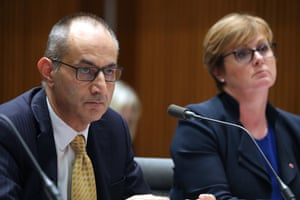Secretary of Home Affairs Michael Pezzulo before the senate Legal and a Constitutional Affairs committee this afternoon in Parliament House.
