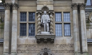 The statue of Rhodes at Oriel College.