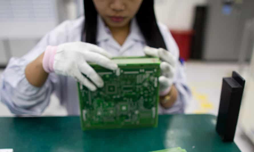 Worker with circuit board