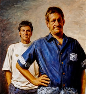 Winner of both the People's Choice award and the Packing Room Prize in 2001 – the first time a work had claimed both prizes – this portrait portrays the comedy duo Roy Slaven and HG Nelson, played by John Doyle and Greig Pickhaver, shortly after their celebrated commentary during the 2000 Olympic Games on the television series The dream.Oil on canvas (2001)
