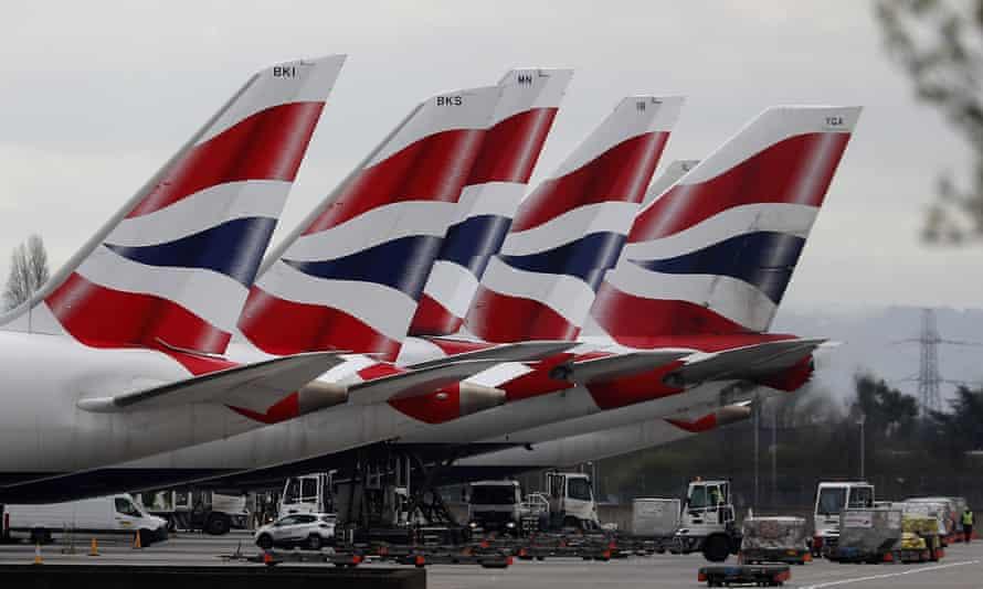 British Airways planes parked up at Heathrow airport