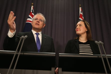 Scott Morrison and Kelly O'Dwyer at a press conference