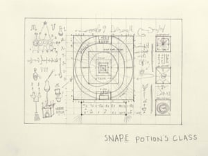 Sketch of the chalkboard in Snape's potions class by set designer Christine Jones