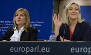 Janice Atkinson, left, seated with Front National leader Marine Le Pen.