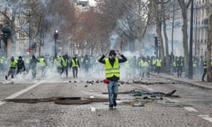 Gilet jaunes protesters near the Champs Élysées in Paris on Saturday