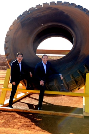 8 July 2014: Tony Abbott and Japanese prime minister Shinzo Abe signed a Free Trade Agreement in Canberra during the Japanese PM's tour of Australia and New Zealand. The agreement provides preferential access to many of Australia's key exports and was seen by businesses as a victory. After the signing, the pair went on a tour of the Pilbara in Western Australia. At the West Angelas Rio Tinto joint venture mine, Abbott and Abe posed next to a heavy haulage truck tyre while wearing RM Williams boots. The picture was used in hundreds of memes and photoshop jokes.
