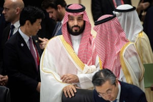 Saudi Arabia's Crown Prince Mohammed bin Salman attends a meeting about the world economy