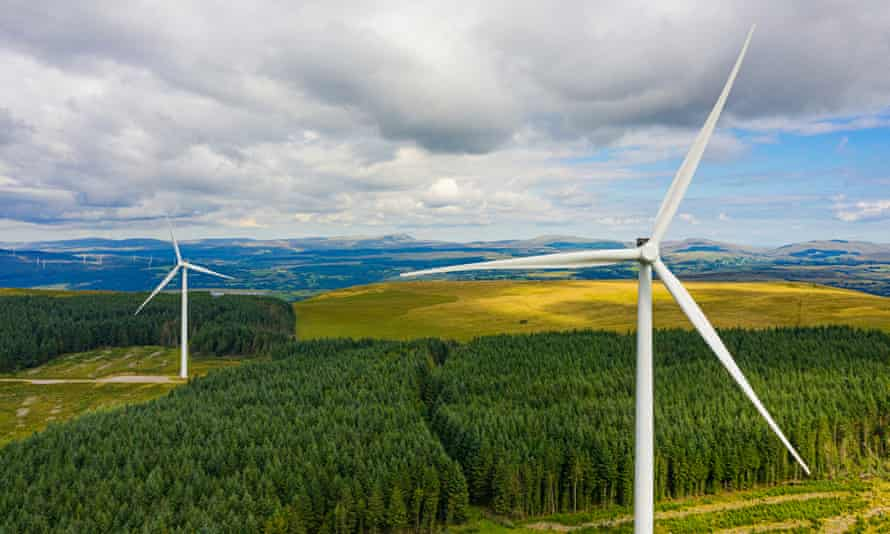 Drone view of Wind Farm in Brecon BeaconsWind Turbines in the UK