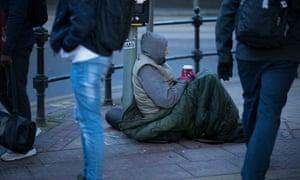 A beggar in Manchester